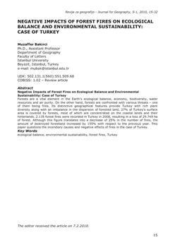 dLib si - Negative impacts of forest fires on ecological balance and